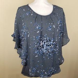 Elle Blouse Gray/Grey Blue Floral Top Sz XS